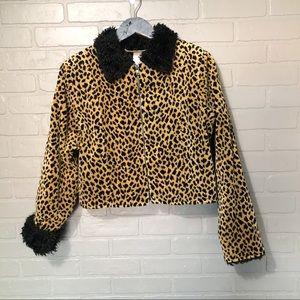 Vintage Leopard Cropped Jacket with faux fur